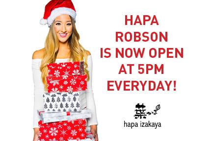 Hapa Izakaya Robson Now Open at 5PM!